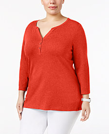 Karen Scott Plus Size Cotton Henley Top, Created for Macy's