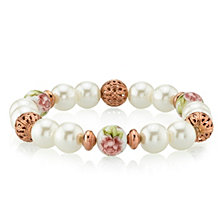 2028 Rose Gold Tone Simulated Pearl Purple Flower Filigree Beaded Bracelet