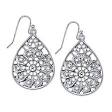 2028 Crystal Filigree Pearshape Earrings