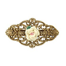 Gold-Tone Ivory Porcelain Rose Barrette
