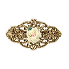2028 Gold-Tone Ivory Porcelain Rose Barrette