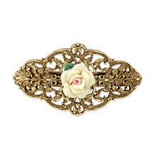 2028 Gold-Tone Ivory Porcelain Rose Barrette