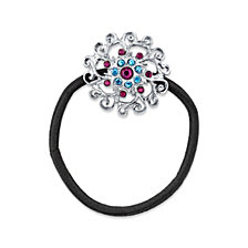 2028 Silver-Tone Light Blue and Amethyst Color Crystal Flower Ponytail Holder