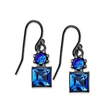 Black-Tone Blue Drop Earrings