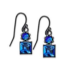 2028 Black-Tone Blue Drop Earrings