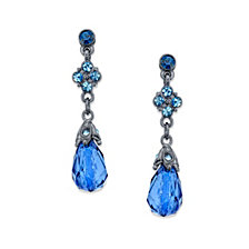 2028 Black-Tone Blue Faceted Drop Earrings