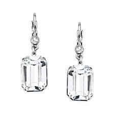 Silver-Tone Genuine Swarovski Crystal Square Drop Earrings