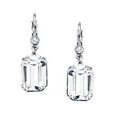 2028 Silver-Tone Genuine Swarovski Crystal Square Drop Earrings