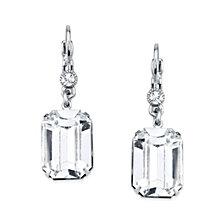 2028 Silver-Tone Genuine Swarovski Crystal Square Drop Earrings