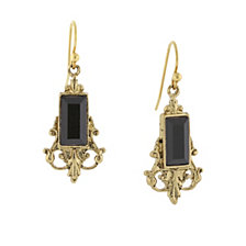 2028 Gold-Tone Black Drop Earrings