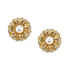 2028 Gold-Tone Simulated Pearl Flower Button Earrings