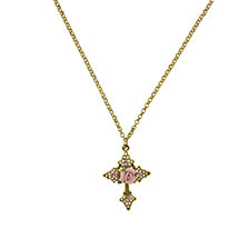 "2028 Gold-Tone Pink Crystal Cross and Pink Porcelain Rose Filigree Necklace 16"" Adjustable"