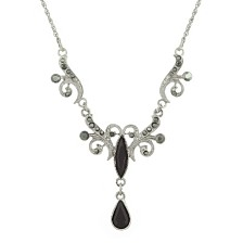 "2028 Silver-Tone Black and Hematite Color Crystal Teardrop Collar Necklace 16"" Adjustable"