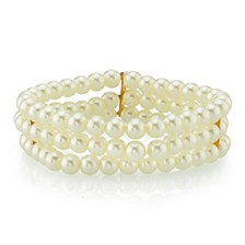 Gold-Tone Simulated Pearl 3-Row  Bracelet