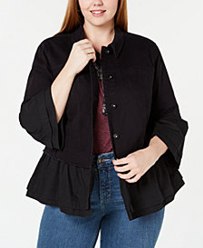 Style & Co Plus Size Tiered Denim Jacket, Created for Macy's