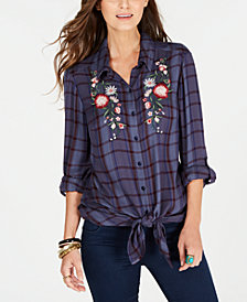 Style & Co Tie-Front Roll-Tab Shirt, Created For Macy's
