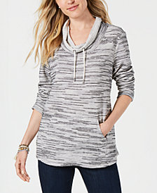 Style & Co Petite Printed Cowl-Neck Sweatshirt, Created for Macy's