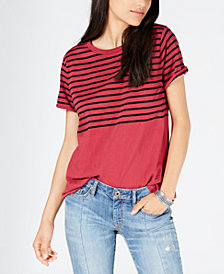 Lucky Brand Striped Buckle-Back Top