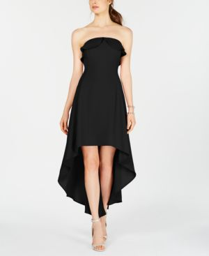 19 COOPER Strapless High-Low A-Line Dress in Black