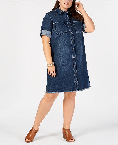 Style Co Plus Size Cotton Raw Hem Denim Shirtdress Created For