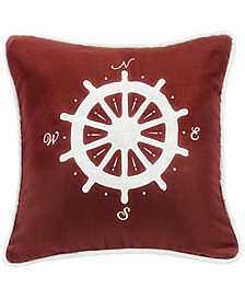 Red Compass 18x18 Embroidery Pillow