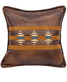 """Faux Leather Southwestern Embroidered 18""""x18"""" Pillow"""