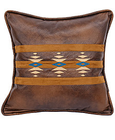 "Faux Leather Southwestern Embroidered 18""x18"" Pillow"