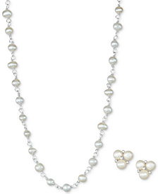"Cultured Freshwater Pearl 18"" Strand Necklace (4-5mm) and Earrings (3-4mm) Set in Sterling Silver"