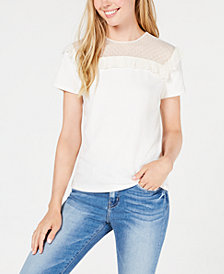 Maison Jules Swiss Dot Short-Sleeve Sweatshirt, Create for Macy's