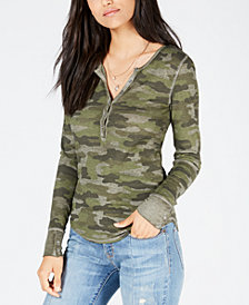 Lucky Brand Camo Henley Thermal Top