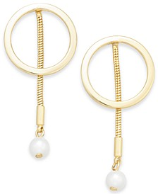 Gold-Tone Hoop & Imitation Pearl Linear Drop Earrings, Created for Macy's