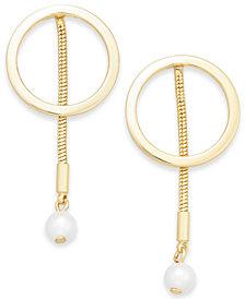 Alfani Gold-Tone Hoop & Imitation Pearl Linear Drop Earrings, Created for Macy's