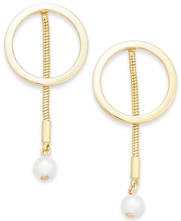 Alfani - Gold-Tone Hoop & Imitation Pearl Linear Drop Earrings
