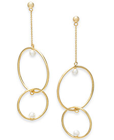 Alfani Gold-Tone Imitation Pearl Double-Hoop Linear Drop Earrings, Created for Macy's