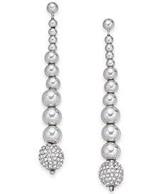 Alfani Silver-Tone Pavé Bead Linear Drop Earrings, Created for Macy's