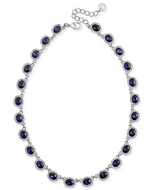 "Charter Club Silver-Tone Pavé & Stone Collar Necklace, 17"" + 2"" extender, Created for Macy's"