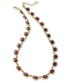 "Charter Club Gold-Tone Pavé & Stone Collar Necklace, 17"" + 2"" extender, Created for Macy's"