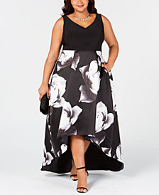 Betsy & Adam Plus Size Floral-Print High-Low Gown