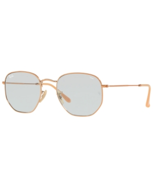 36d702eaa4 Ray Ban 54Mm Evolve Photochromic Hexagon Sunglasses - Gold  Light Blue Solid  In Copper   Evolve Light Blue