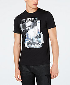 A|X Armani Exchange Men's Cityscape Metallic Logo Graphic T-Shirt