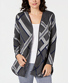 Charter Club Plaid Open-Front Cotton Cardigan, Created for Macy's