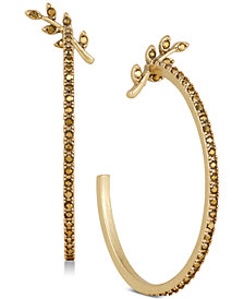Lucky Brand Gold-Tone Fern & Pavé Open Hoop Earrings, Created for Macy's
