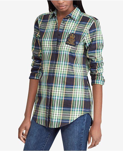0df41076033b3 Lauren Ralph Lauren Plaid Silk Shirt   Reviews - Tops - Women ...