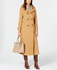 Anne Klein Petite Double-Breasted Hooded Maxi Coat
