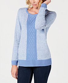 Karen Scott Petite Colorblocked Sweater, Created for Macy's