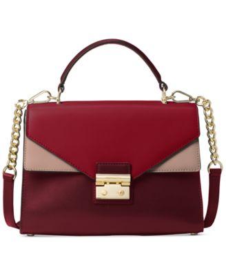 michael kors sloan tricolor leather top handle satchel handbags rh macys com