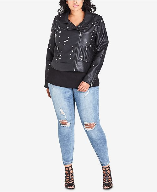 4657b9653b3 ... City Chic Trendy Plus Size Studded Faux-Leather Moto Jacket ...