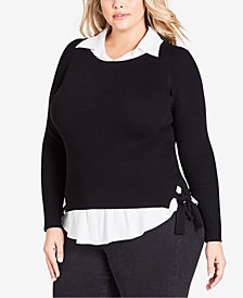 City Chic Trendy Plus Size Layered-Look Collared Top