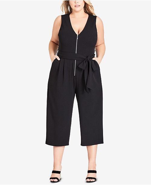 ca668070d5b City Chic Trendy Plus Size Obi Belted Cropped Jumpsuit - Pants ...