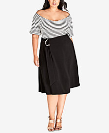 City Chic Trendy Plus Size A-Line Swing Skirt